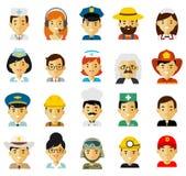 Leutebesetzungs-Charakteravataras stellten in flache Art lokalisiert auf weißem Hintergrund ein Stockfoto