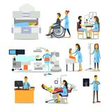 Leutecharaktere im Krankenhaus Stockfotos