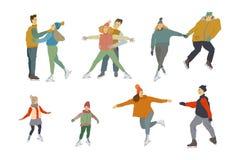 Leuteeisskifahren Mannfrauen und -kinder auf Schlittschuhen Menschliche Figur in der Bewegung lizenzfreie abbildung