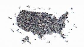 Leuteform einer Karte von Amerika stock abbildung