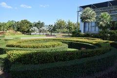 Leutegarten und Himmelwolke und -gebäude Stockbilder