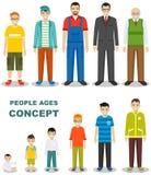 Leutegenerationen am unterschiedlichen Alter lokalisiert auf weißem Hintergrund in der flachen Art Mannaltern: Baby, Kind, Jugend Lizenzfreie Abbildung