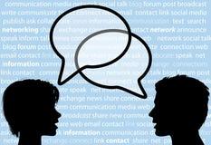 Leutegesprächsanteilsozialnetzspracheluftblasen Stockfotos