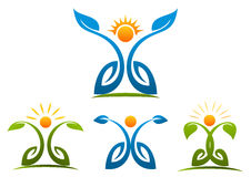 Leutegesundheit, Anlage, Wachstum, Natur, Botanik, Logo, Wellness Stockbilder