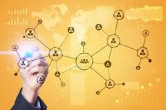 Leuteikonen-Struktur Soziales Netz Stunde Personalwesen-Management Geschäftsinternet und Technologiekonzept stockfotos