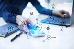 Leuteikonen-Struktur Soziales Netz Stunde Personalwesen-Management Geschäftsinternet und Technologiekonzept lizenzfreie stockfotos
