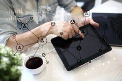 Leuteikonen-Struktur Soziales Netz Stunde Personalwesen-Management Geschäftsinternet und Technologiekonzept lizenzfreie stockbilder