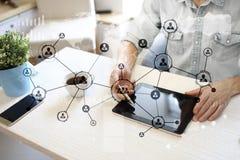 Leuteikonen-Struktur Soziales Netz Stunde Personalwesen-Management Geschäftsinternet und Technologiekonzept stockbilder