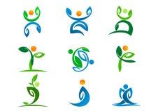 Leutelogo, Anlagenwellness, Blattyoga Active und Natursymboldesignikonensatz Lizenzfreies Stockbild