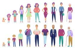Leutemann und weiblicher Alterungsprozess Vom Baby zur älteren Person, die gesetzt wächst Modischer fradient Farbartvektor vektor abbildung