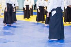 Leutepraxis Aikido Stockfotografie