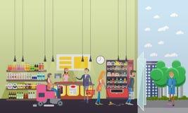 Leutereinigungsspeicher während Kundeneinkauf Flacher Retrostil der Vektorillustration Bodensorgfalt und -service herein stock abbildung