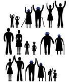 Leuteschattenbild-Familienikone. Personenvektorfrau, Mann. Kind, Großvater, Großmuttergenerationsillustration. Lizenzfreies Stockfoto