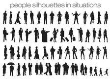Leuteschattenbilder in den Situationen Lizenzfreie Stockfotos