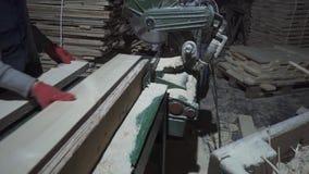 Leuteschneidebretter an der Fabrik stock footage
