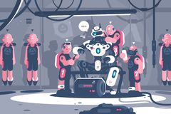 Leuteschuftender Roboterchef lizenzfreie abbildung