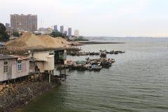 Leutespiel am alten Fischereihafen Stockbilder