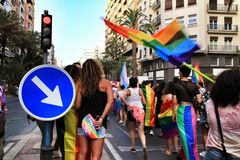 People dancing and having a good time in the Gay Pride Parade in Alicante