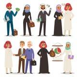 Leuteteamwork-Vektorillustrationszeichentrickfilm-figur des Geschäfts Direktionsbürositzung der arabischen arabische lizenzfreie abbildung