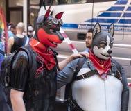 2018: Leutetragende Gummifetischhundeköpfe und -kostüme, die an der Schwulenparade alias Christopher Street Day teilnehmen stockbilder