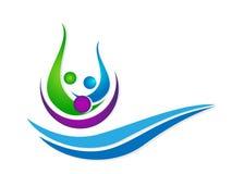 Leuteverbandsteam, das Glück Wellness-Wasserwellen-Seesymbolikonenelement-Logoentwurf auf weißem Hintergrund feiert vektor abbildung