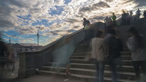 Leuteweg die Treppe der Steinbrücke, Zeitspanne stock video