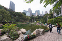 Leuteweg in Hong Kong-Park Stockbilder
