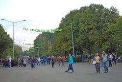 Leuteweg im Park Stockbild