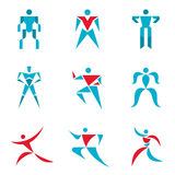 Leutezeichen - kreative Vektorsammlung Menschliche Figuren - Vektorikonen eingestellt Menschliches Vektorlogo Vektorlogoschablone Stockbild