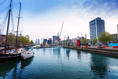Leuvehaven embarkment in Rotterdam Stock Photography