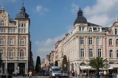 LEUVEN, BELGIUM - SEPTEMBER 05, 2014: Old historical buildings on the Martyr`s Square Martelarenplein in Leuven. royalty free stock photos