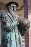 Leuven - Bronze memorial of cartograph Mercator (1512 - 1594) by the artist Raoul Biront and inaugurated in 2001 Stock Photos