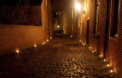 Leuven with candles. Old town of Leuven, Belgium with candles at night Stock Photos