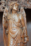 Leuven - Carved angel as symbol of virtuousness  form St. Michaels church (Michelskerk) Royalty Free Stock Photo