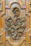 Leuven - Carved baroque relief form St. Michaels church (Michelskerk) Stock Photos