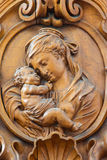 Leuven - Carved relief of Madonna in Sint jan de Doperkerk Royalty Free Stock Photo