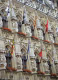 Leuven City Hall Detail. Close up of the ornate city hall in Leuven, Belgium stock images