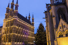 Leuven City Hall and St. Peter's Church in Belgium Stock Photos