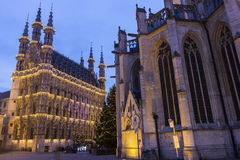 Leuven City Hall and St. Peter's Church in Belgium Stock Image