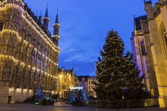 Leuven City Hall and St. Peter's Church in Belgium Stock Images