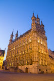 Leuven - Gothic town hall in evening. Dusk Stock Images