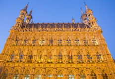 Leuven - Gothic town hall in evening. Dusk Stock Photography
