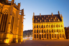 Leuven - Gothic town hall and st. Peters cathedral. In evening dusk Royalty Free Stock Photography
