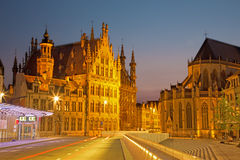 Leuven - Gothic town hall and st. Peters cathedral from Margarethaplein. In morning dusk Stock Image