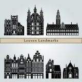 Leuven landmarks and monuments isolated on blue background stock illustration