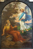 Leuven - målarfärg av kyrkan för St. Michaels för profetElijah form (Michelskerk) Royaltyfri Foto