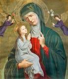 Leuven - målarfärg av St Ann med den lilla Maryen på den gamla flaggan från. cent 19. kyrka för formSt. Michaels (Michelskerk) arkivbild