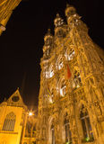 Leuven - north-east portal of Gothic town hal Stock Image