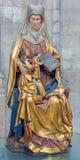 Leuven - Polychrome standbeeld van st. Ann in st. Peters gotische kathedraal van vroege. cent 16. Royalty-vrije Stock Foto's