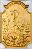 Leuven - Relief of cooper snake and Israelis Sint jan de Doperkerk. Royalty Free Stock Images